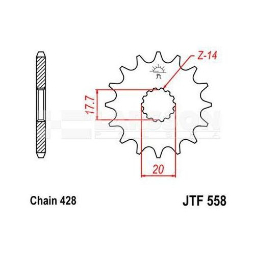 Jt sprockets Zębatka przednia jt f558-13, 13z, rozmiar 428 2201326 yamaha dt 125, sachs zz 125