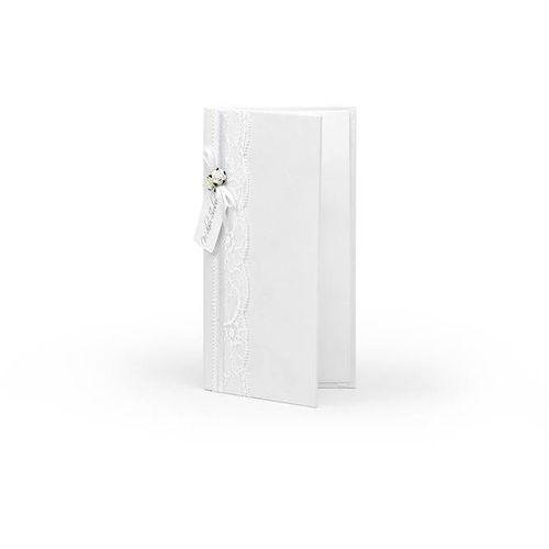 Etui na pieniądze białe z białymi różyczkami - 1 szt.