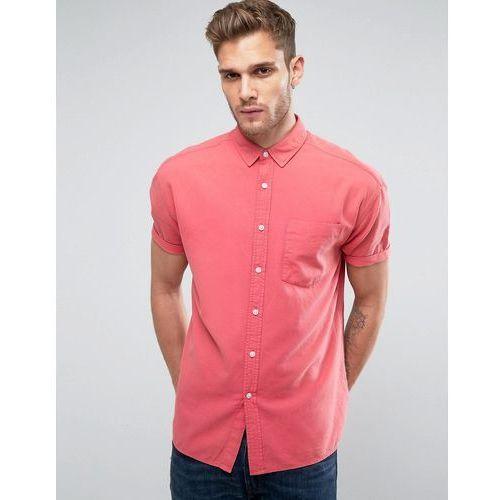 design oversized oxford shirt in rose with short sleeve - pink marki Asos