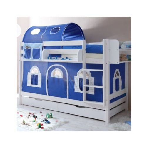 TICAA Łóźko piętrowe MARCEL sosna biel Domek- niebieski/biały - bez tunelu