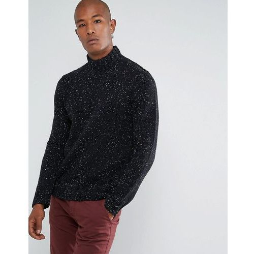 knitted high neck jumper in wool mix with fleck detail - black, Selected homme