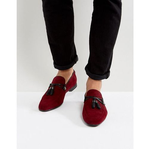 Asos design loafers in burgundy faux suede with tassel - red