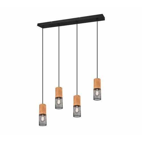 Trio tosh 304300432 lampa wisząca zwis 4x40w e27 czarna/drewniana (4017807467567)