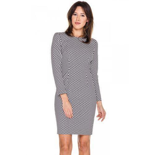 Dopasowana sukienka w czaro-białe groszki -  marki Bialcon