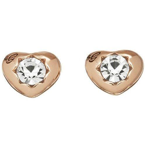 różowe złote kolczyki serca z crystalami ube51417 marki Guess