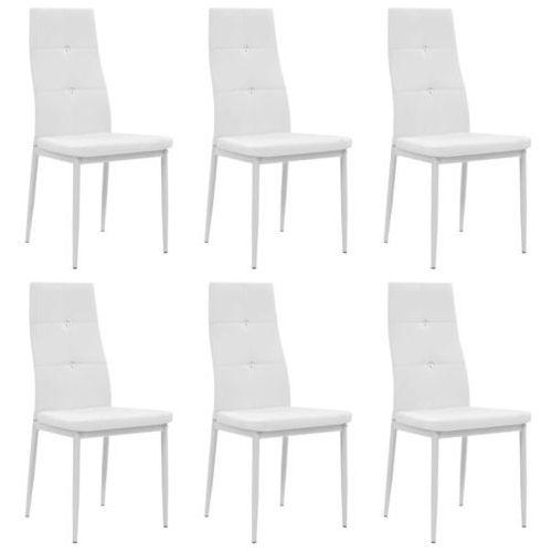 Vidaxl Krzesła ze sztucznej skóry, 6 szt., 43 x 43,5 x 96 cm, białe