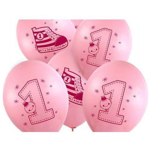 """Balon z nadrukiem dla dziewczynki """"bucik - i'm number 1"""" - 37 cm - 50 szt. marki Party deco"""