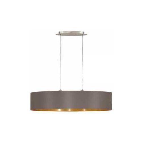 Lampa wisząca maserlo 31619 zwis oprawa z abażurem 2x60w e27 ciemnoszary/złoty marki Eglo