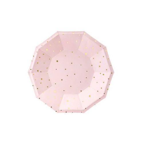 """Talerzyki papierowe """"gwiazdki"""", różowo jasne, , 18 cm, 6 szt marki Partydeco"""