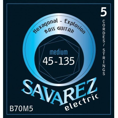 Savarez (682355) struny do gitary basowej Hexagonal Explosion 5-str. Medium-Light