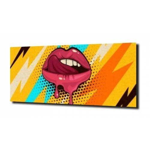 Obraz na szkle, panel szklany usta pop art. 100x80 marki Zahartowani.pl
