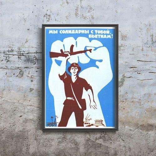 Plakat vintage Plakat vintage Druk radziecki Solidarność z Wietnamem