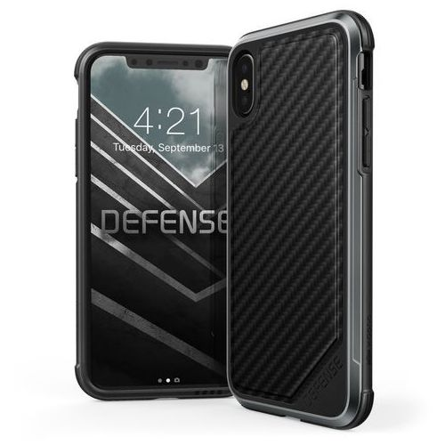 X-Doria Defense Lux - Aluminiowe etui iPhone X (Black Carbon Fiber) (6950941460729)