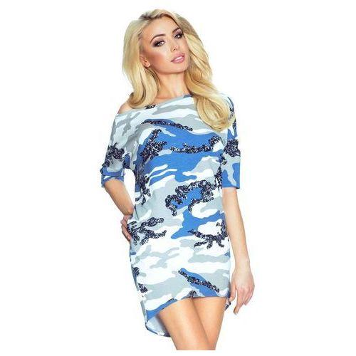Biało Niebieska Sukienka z Dłuższym Tyłem - Moro, w 4 rozmiarach