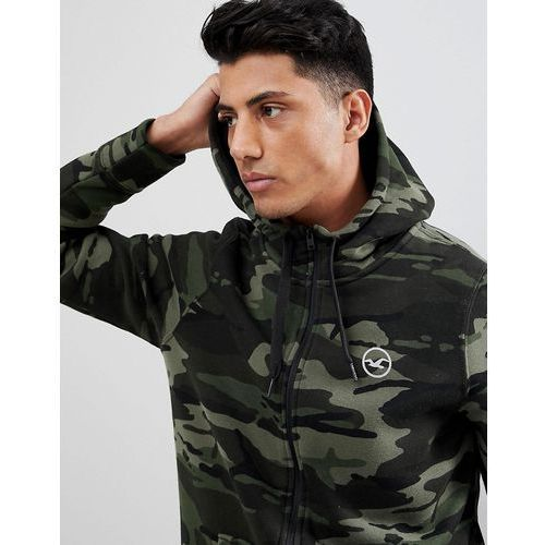 athletic icon logo camo print full zip hoodie in green - green, Hollister, XS-L