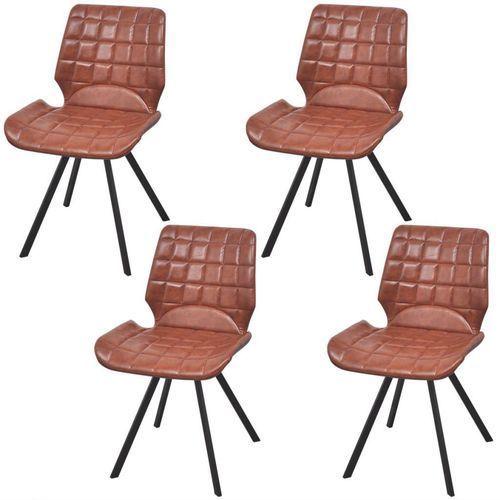 Krzesło do jadalni obite ekoskórą 4 szt, brązowe