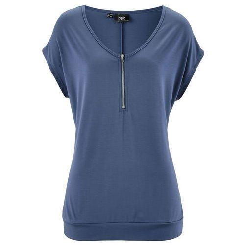 T-shirt z zamkiem, krótki rękaw indygo, Bonprix, 36-46