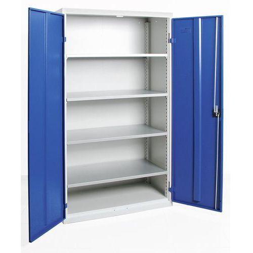 Szafka z drzwiami skrzydłowymi, z drzwiami w całości z blachy, 4 półki, jasnosza