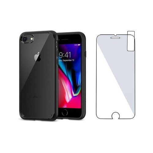 Zestaw | Spigen SGP Ultra Hybrid 2 Black | Obudowa + Szkło ochronne Perfect Glass dla modelu Apple iPhone 7 / 8