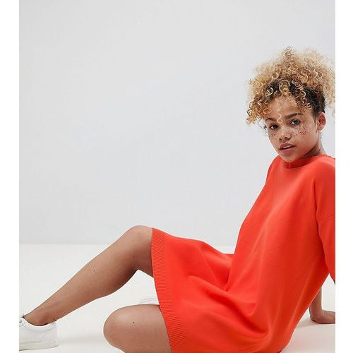 ASOS DESIGN Petite knitted t-shirt dress with pointelle stitch detail - Orange