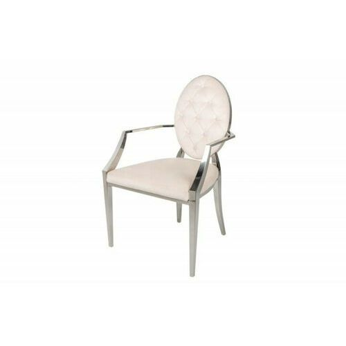 Invicta krzesło modern barock aksamit - beżowy, aksamit, stal nierdzewna marki Sofa.pl