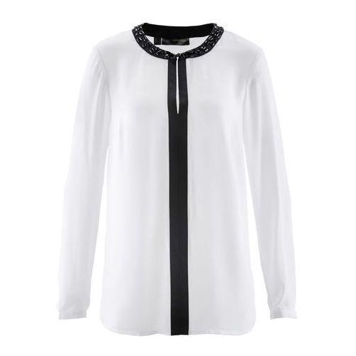 Tunika bonprix biel wełny - czarny, kolor biały