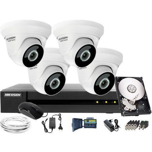 4 x hwt-t223-m zestaw telewizji przemysłowej do firmy, biura, parkingu hwd-6104mh-g2, 1tb, akcesoria marki Hikvision hiwatch