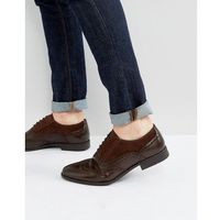 brogue shoes in brown faux leather and faux suede detail - brown, Asos