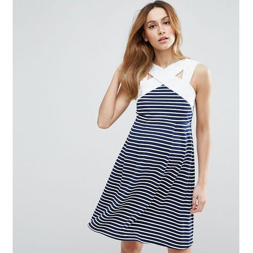 Asos maternity  stripe mini skater dress with contrast neck detail - multi