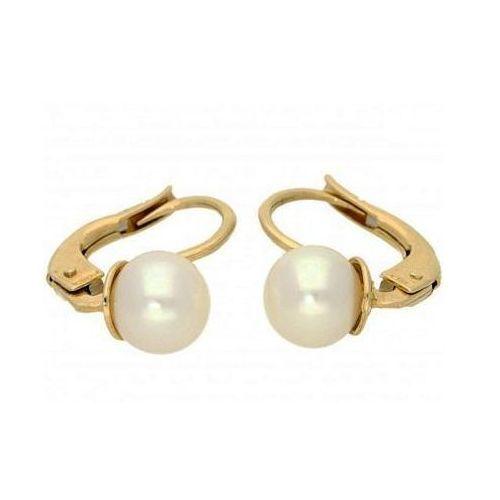 Lovrin Złote kolczyki z białymi perłami 585 gładkie złoto 1,83g