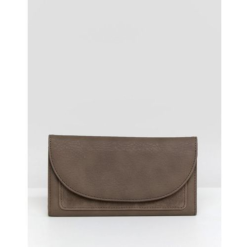 foldover clutch purse with suede panel - beige marki French connection