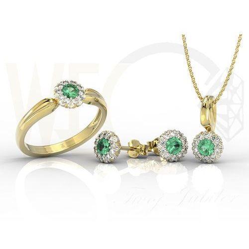 Zestaw: pierścionek kolczyki i wisiorek ze szmaragdami i diamentami AP-42ZB