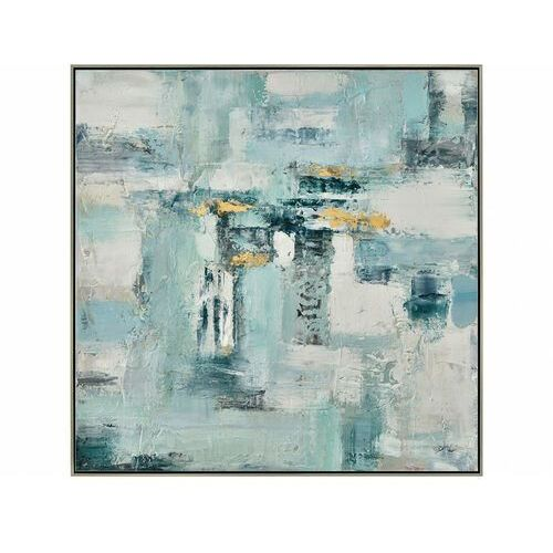 Obraz olejny ESPOIR ręcznie malowany, złota rama – 80 × 80 cm – kolor niebieski