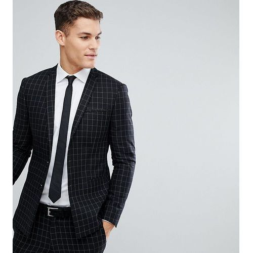 Noak Skinny Wedding Suit Jacket In Grid Check with Straight Hem - Black