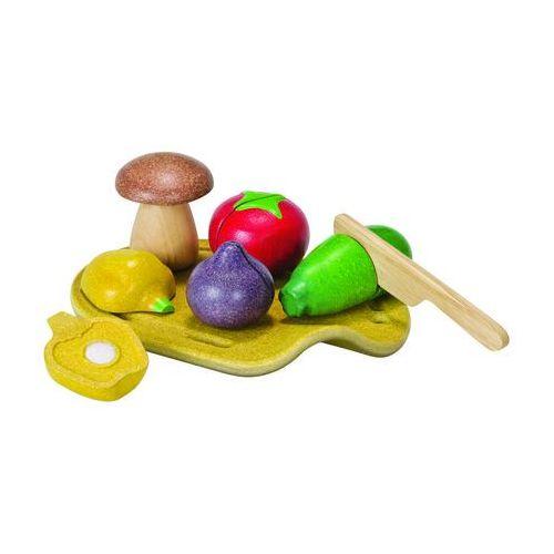 Plan Toys, Warzywa z deską do krojenia, zestaw, drewniany, PLTO-3601