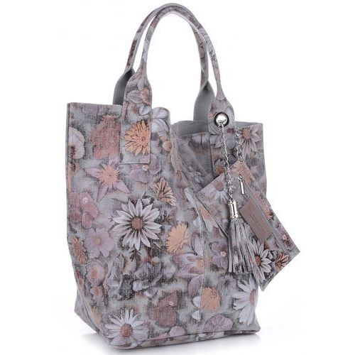 VITTORIA GOTTI Made in Italy Torebka Skórzana Shopper Bag Kwiaty Multikolor - Szara (kolory), 8298sz