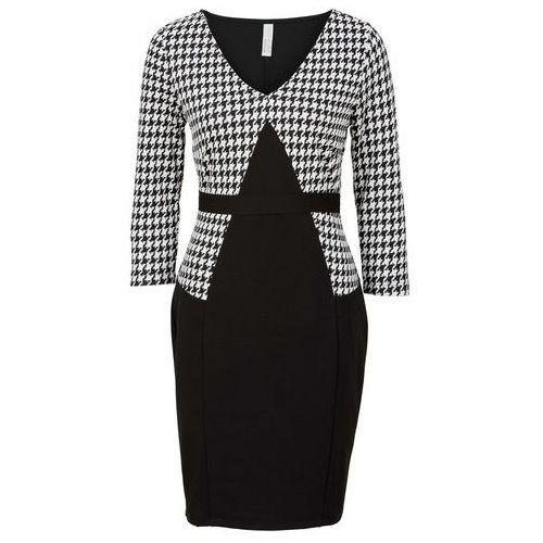 Sukienka biznesowa bonprix czarno-biały, kolor czarny