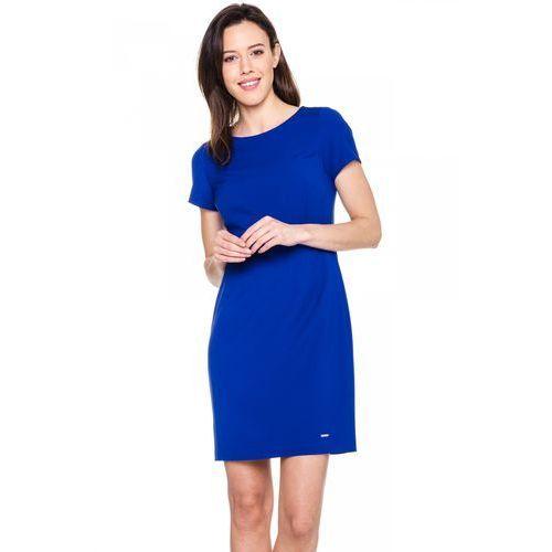 Niebieska, dopasowana sukienka - Sobora, 1 rozmiar