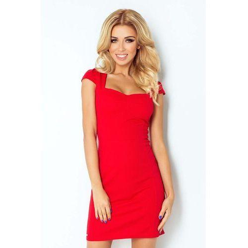 Czerwona Sukienka z Przeszyciami z Mini Rękawkiem, kolor czerwony