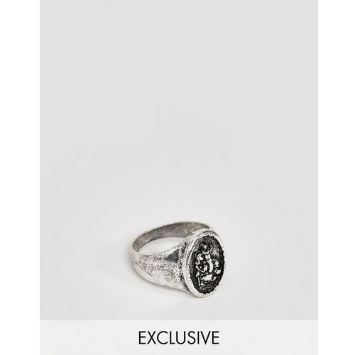 Reclaimed Vintage st christopher ring in burnished silver - Silver