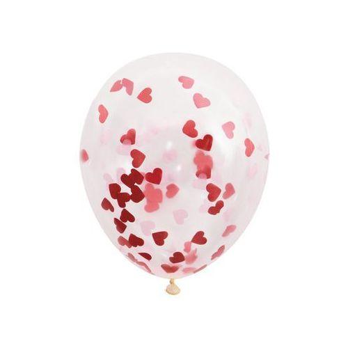 Balony przezroczyste z konfetti serca w środku - 40 cm - 5 szt. marki Unique