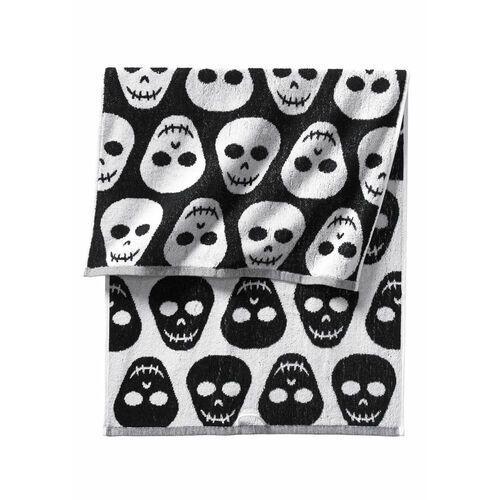 Bonprix Ręczniki z motywem trupich czaszek czarno-biały