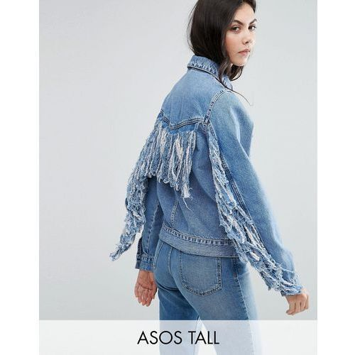 denim jacket in midwash blue with fringed back - blue wyprodukowany przez Asos tall