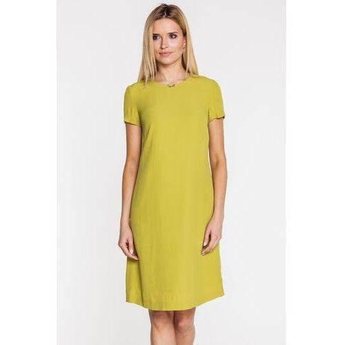 Limonkowa sukienka z biżuteryjną wstawką - Bialcon