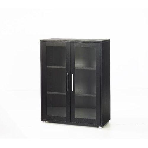 Prima regał niski z drzwiami szklanymi czarny marki Tvilum