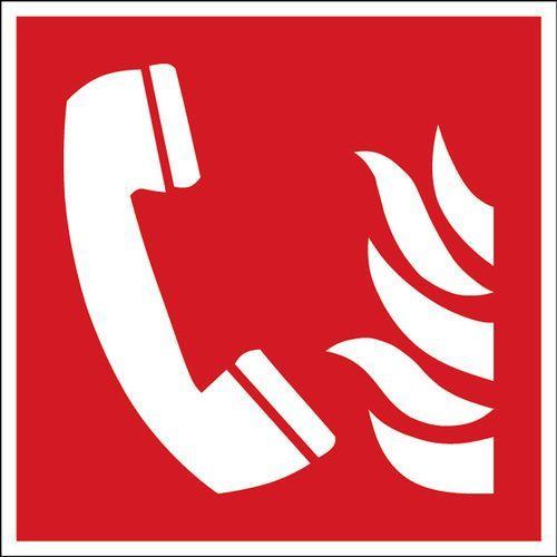 Znak telefonu w razie niebezpieczeństwa pożarowego samoprzylepny,poliester, 306219