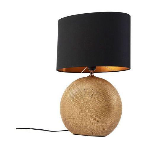 Honsel Brązowa lampa stołowa z czarnym kloszem 34 cm - cleo