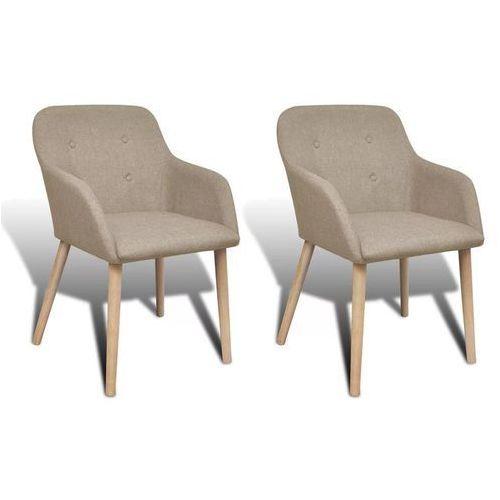 Krzesła jadalniane z dębową ramą, 2 szt, materiałowe, beżowe