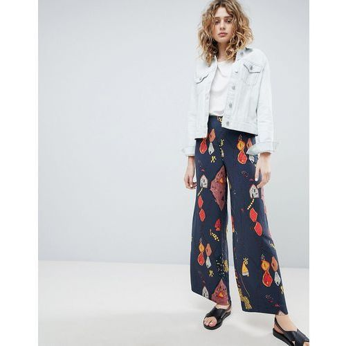 wide leg trousers in graphic print - blue marki Weekday