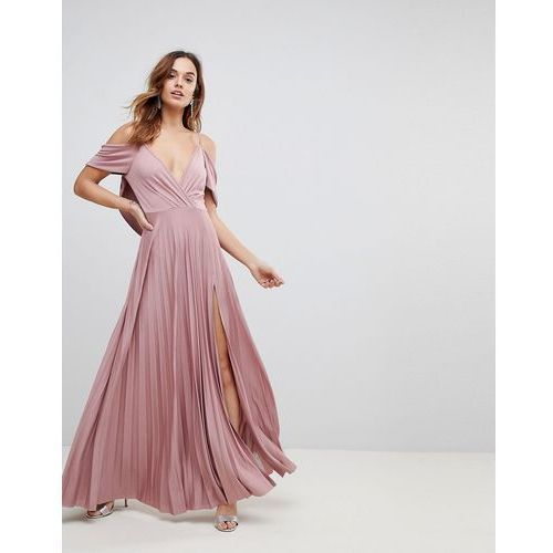 Asos design Asos cold shoulder cowl back pleated maxi dress - pink